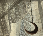 Lace Curtains Posters - Lace and Crescent - antiqued Poster by ShaddowCat Arts - Sherry