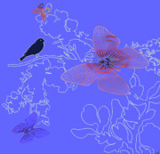 Fluttering Digital Art - Lace Blue by Debra     Vatalaro