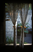 Birdcage Photos - Lace Curtains and Birdcage in Open Window by Will & Deni McIntyre