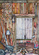 Cabin Window Paintings - Lace Curtains by Carmen Gardell