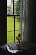 Oil Lamp Photo Prints - Lace Curtains Print by Scott Hovind