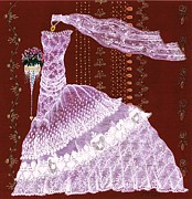 Brides Dress Prints - Lace Victorian Print by Jenny Sorge