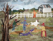 Louisiana Tapestries - Textiles - Lache Pas la Poulette by Charlene White