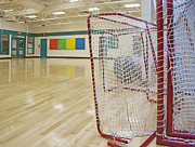 Goals Prints - Lacrosse Goals in a Gymnasium Print by Marlene Ford