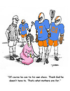 Athletes Drawings - Lacrosse Mom Ties Shoes by John Crowther