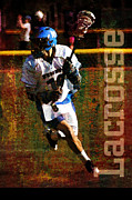 Throw Mixed Media Posters - Lacrosse Player Poster by John Turek