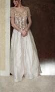 Lacy In Ecru Lace Gown Print by Jill Battaglia