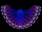 Jewel Tones Posters - Lacy Jewel Tone Fractal Flying Owl Poster by Andee Photography