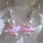 Abstract Jewelry - Lacy Pink Swirl Earrings by Janet  Telander