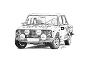 Rally Drawings Posters - Lada VAZ 21011 Group 2 Poster by Gabor Vida