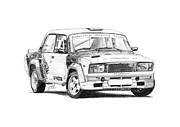 Rally Drawings Posters - Lada VFTS Poster by Gabor Vida