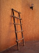 Matt Suess Prints - Ladder against adobe wall Print by Matt Suess
