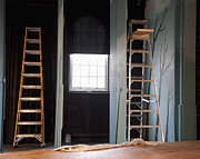 Backstage Posters - Ladders Offstage in a Theatre Poster by Thom Gourley/Flatbread Images, LLC