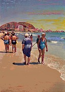 Southern Europe Posters - Ladies at the Beach in Alicante Poster by Sarah Loft