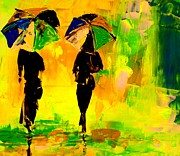 Going Green Painting Posters - Ladies Going Home Poster by Artist  Singh