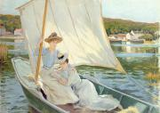 Boats In Water Painting Posters - Ladies in a Sailing Boat  Poster by Jules Cayron