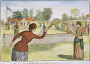 Racket Framed Prints - Ladies Lawn Tennis, 1883 Framed Print by Granger
