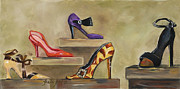 Shoes Greeting Cards Posters Painting Posters - Ladies Love Shoes... Poster by Pati Pelz