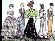 Hoop Drawings Prints - Ladies of Fashion 1860 to 1910 Print by Mel Thompson