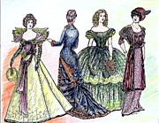 1880s Drawings Framed Prints - Ladies of Fashion 2 Framed Print by Mel Thompson