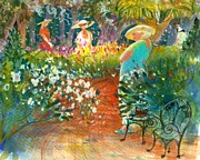 Garden Scene Paintings - Ladies of the Garden by Gertrude Palmer