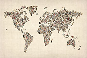 Print Art - Ladies Shoes Map of the World Map by Michael Tompsett