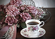 Mauve Roses Photo Acrylic Prints - Ladies Tea Time Acrylic Print by Sherry Hallemeier