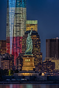 Freedom Tower Prints - Lady and Freedom Print by Susan Candelario