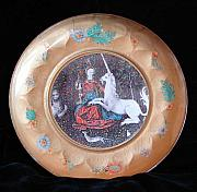 Medieval Glass Art - Lady and the Unicorn by Sarah Wharton White