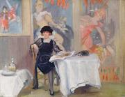 Tablecloth Paintings - Lady at a Cafe table  by Harry J Pearson