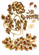 Eve Drawings Posters - Lady Autumn Poster by Judith Herbert