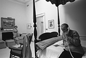 Candid Family Portraits Posters - Lady Bird And President Johnson Taking Poster by Everett