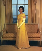 Lyndon Johnson Presidency Framed Prints - Lady Bird Johnsons Inaugural Gown. The Framed Print by Everett