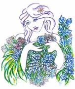 Eve Drawings - Lady Blossom  by Judith Herbert