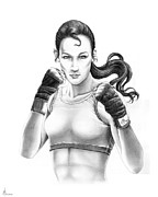 Boxer  Drawings Prints - Lady Boxer Print by Murphy Elliott