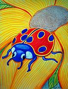 Bugs Drawings Prints - Lady Bug Print by Nick Gustafson
