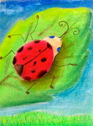 Insects Pastels Posters - Lady Bug Poster by Tiffany Albright