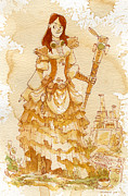 Steampunk Framed Prints - Lady Codex Framed Print by Brian Kesinger
