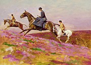 Horse And Flowers Framed Prints - Lady Currie with Her Sons Bill and Hamish Hunting on Exmoor  Framed Print by Cecil Charles Windsor Aldin