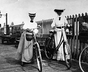 Full Skirt Photos - Lady Cyclists by Hulton Collection