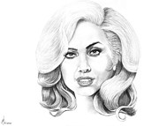 Famous People Drawings - Lady Gaga by Murphy Elliott