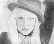 Lady Gaga Drawings Originals - Lady Gaga by Pat Moore