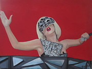 Sequin Painting Prints - Lady Gaga Poker Face Print by Kristin Wetzel