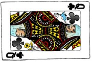 Lady Gaga Queen Of Clubs Poker Face Caricature Print by Yasha Harari