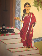 Ravi Art - Lady going to pray by Deepa Padmanabhan