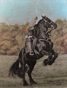 Black Horse Pastels Prints - Lady Heatherly and Darktanion Print by Gail Finger