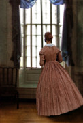 Period Clothing Prints - Lady in 19th Century Clothing Looking out Window Print by Jill Battaglia