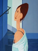 Modigliani Originals - Lady in a Blue Top by Stephen Diggin