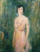 Background Paintings - Lady in a Pink Dress by Ambrose McEvoy