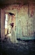 Lady In An Old Abandoned House Print by Jill Battaglia